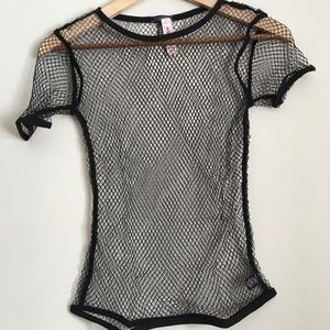 Victoria's Secret Fishnet Sheer T-shirt Top XS/S